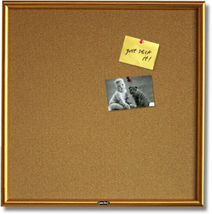 Cork Bulletin Boards With Golden Wood Frame